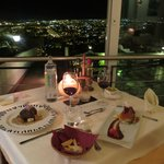 Meal at restaurant and view into Malaga