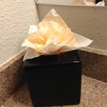 Extra touch:  Tissue rose on top of the tissue container.