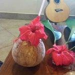 Coconut drink upon arrival