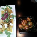 Beet and Goat Cheese Salad, Bacon Wrapped Scallops