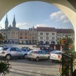 The view from the hotel front door. The town square.