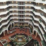 Beautiful atrium....but it is a racetrack around each floor for children and the noise level is