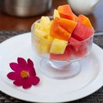 Fresh fruit with breakfast every day