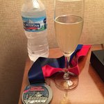 Complimentary champagne and water for all of the marathon runners