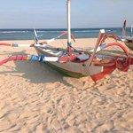 Outrigger canoes at the beach
