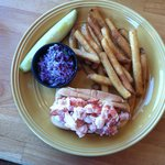 Lobster roll - easier to deal with than a whole lobster and very tasty
