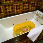 Baby bath, non-slip matt and rubber duck, in the huge family sized bath!