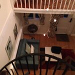 View from mezzanine into lounge area. Lovely decor.