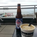 Tasty local beer and chowder on the rooftop terrace!