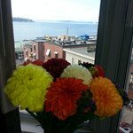Our lovely market flowers and view from our room.
