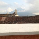 The view of Agua volcano from the rooftop deck