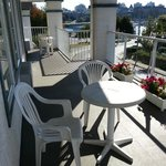 Pleasant balcony accessible from suite bedroom, shared with 2 other suites. Overlooks Belleville
