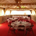 The decorated barn all ready for the wedding