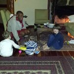 james and the children in the living room of the family villa