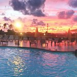 Our swimming pool area at the sunset