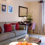 The living room at 23 Greengarden House serviced apartments