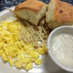 Eggs, hash browns, biscuits n gravy... $8.