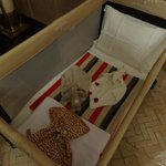 Large travel cot supplied by the hotel