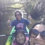 3 of us on a two person kayak.