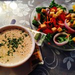 Crab bisque and house salad.