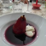 pear in red wine dessert made by Christina