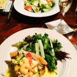 Vegetable quiche with seafood Hollandaise sauce