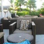 The lounge area by the pool at the Pelican Bay restaurant
