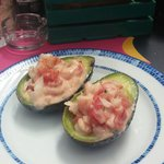 Great shrimp stuffed avocado at the Mexican restaurant.