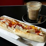My personal favourite: B&E baguette and latte