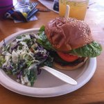 burger with cole slaw