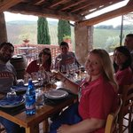 """Our """"bonanza"""" lunch at the winery with Gianni!  Salute!"""