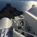 View from top steps of Santorini.  Onsite restaurant is on the left.  Honeymoon Suite is to the