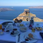 Breakfast served on our patio with view of caldera!