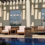 the roof top pool and view