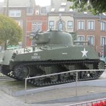 A sherman tank in town square