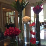 Floral arrangements in the lobby