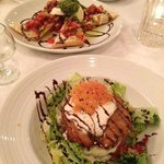 bruchetta and fried green tomatoes with fresh mozzarella and basil