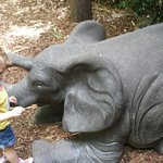 Baby elephant statue that my little girl was obsessed with. There are other animal statues to ta