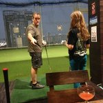 indoor golf range on the 18th floor