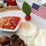 Breakfast plate with US flag