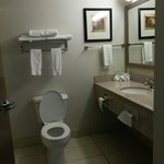 Spacious bathroom. I like that 3 bath towels were offered. Many women need 2 - one for hair and