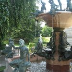 Courtyard fountain in garden