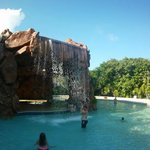 The cave/waterfall/jacuzzi area at the top end of the pool