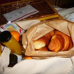 a warm breakfast delivered in a basket!