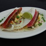 Spiced Yellowfin Tuna Tacos with Pineapple Relish, Shredded Cabbage & Chipotle Sour Cream
