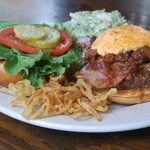 Black Cat Burger (Grilled Onions, Edgar's Drunken Chili, Applewood Bacon & Pimiento Cheese)