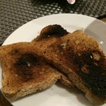 gluten free toast sent by the kitchen, burnt!