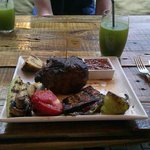 Steak with grilled vegetables at Organique
