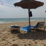 The beach at the holiday village manar always sunbeds available