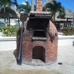 pizza oven by the pool